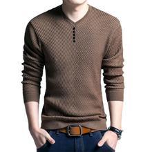 Повседневный мужской осень длинный рукав V вырез однотонный цвет кнопки пуловер блузка топ