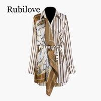 Rubilove 2019 New Spring Fashion Women Clothing Printing Split Joint Striped Patchwork Shirt Blouse Female Vestido