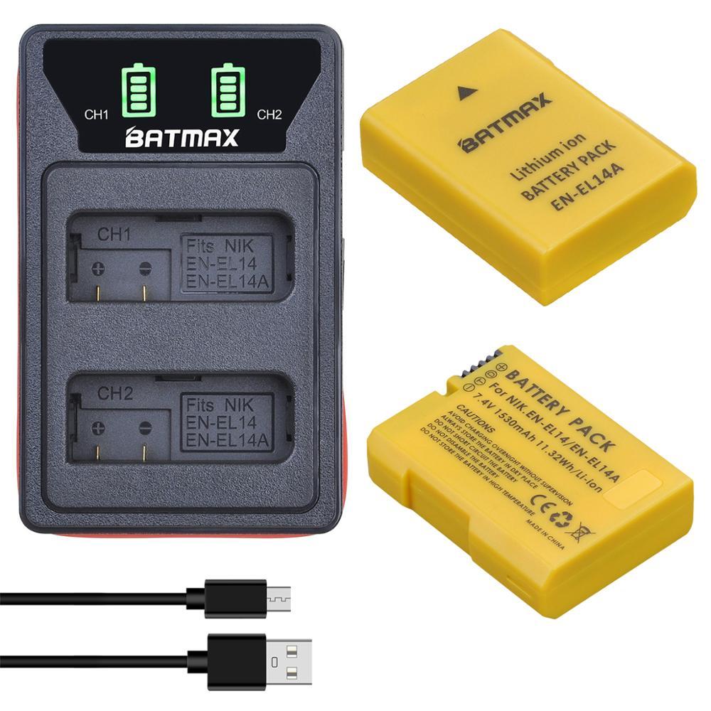 2x1530mAh EN-EL14 EN EL14 EN-EL14a batterie + double LCD double chargeur pour Nikon P7800,P7100,D3400,D5500,D5300,D5200,D3200,MH-24