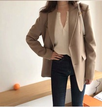 Vintage Loose Ladies Blazer Casual Solid Khaki Suit Jacket Simple Chamaras Mujer Korean Spring Autumn Women's Clothing MM60NXZ