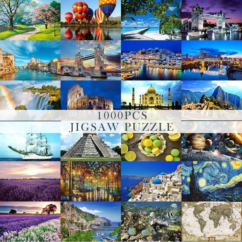 1000 Pcs Venice Jigsaw Puzzles Paper Assembling Picture Landscape Puzzles Toys For Adults  Children  Games Educational Toys