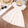 Baby Girls Clothes Summer Dress Solid White Tulle Beauty Princess Kawaii Designer Party Fairy Elegant Free Shipping Kids Costume