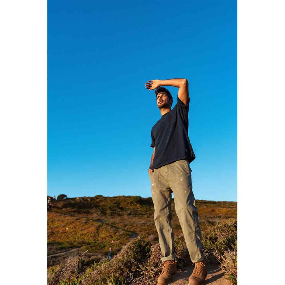 Simwood 2020 Musim Semi Musim Panas Indigo Kaos Pria Garmen Dicelup 100% Cotton-Jersey T Shirt Plus Ukuran Denim merasa Atasan SJ170104