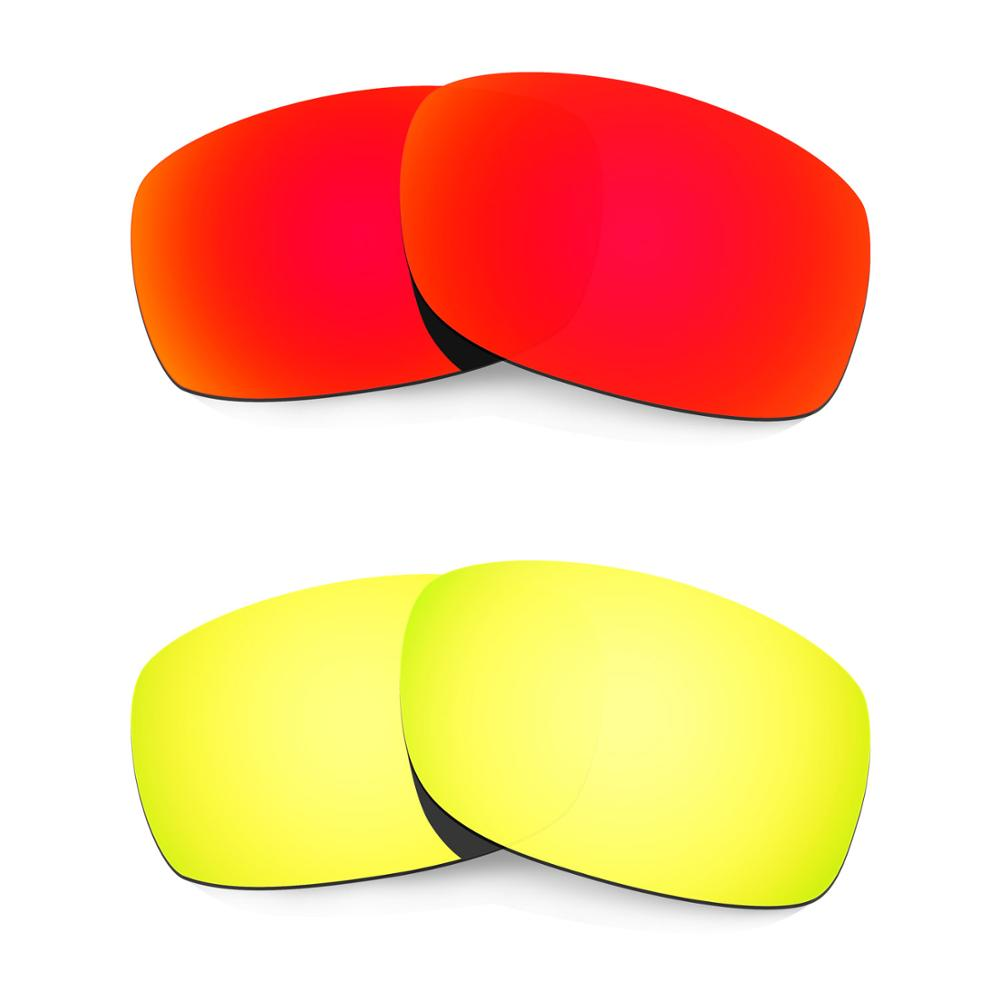 HKUCO For Fives 3.0 Sunglasses Replacement Polarized Lenses 2 Pairs - Red & Gold