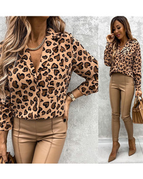 color block chest pocket dip hem tee Women Blouse Autumn Spring Streetwear Lapel Neck Single Breasted Chest Pocket Tops Loose Hem Leopard Print Top Clothes For Women