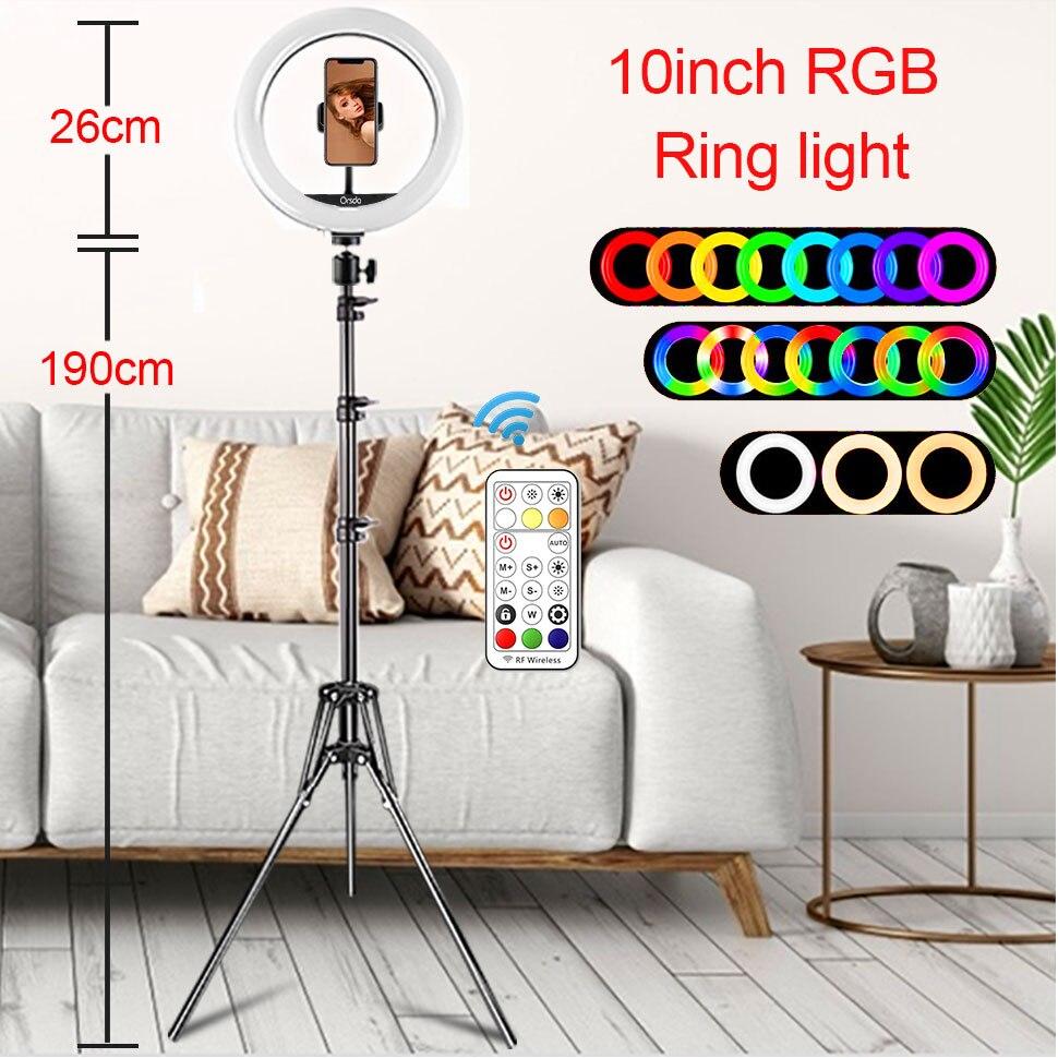 Hcef97e2e69a74be1bc16bd0dd937ad1eF Orsda 10-13 Inch RGB Ring Light Tripod LED Ring Light Selfie Ring Light with Stand RGB 26 Colors Video Light For Youtube Tik Tok