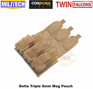 Image 3 - MILITECH TWINFALCONS TW 500D Delustered Cordura Molle Delta Triple 9mm Mag Molle Pouch Magazine Glock Pouch For Police Military