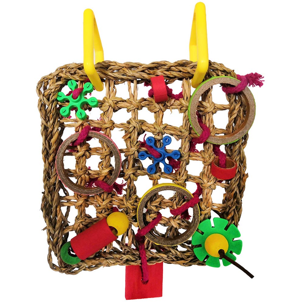 Colorful Funny Parrot Toys Woven Seagrass Birds Foraging Wall Toy Climbing Chewing Hanging Mat Toy Parrots Chewing Training Tool