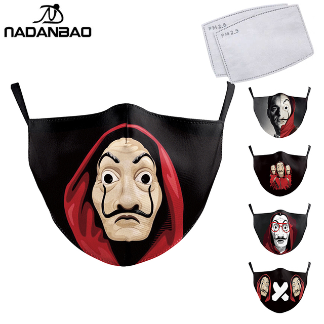NADANBAO La Casa De Papel Mouth Mask Kid Cosplay Costume Adult Black Face Reusable Mask Print Washable Fabric Masks Cosplay Face