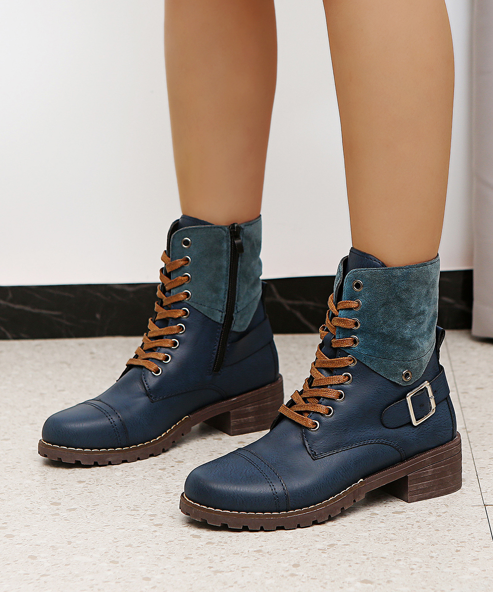 British Style Fashion Zipper Flat Shoes Woman Boot High Heel Platform PU Leather Boots Lace Up Women Shoes Botas Mujer Girls 2