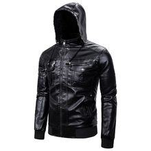 Jacket Coat Hooded Motorcycle Men's Autumn Winter Casual Long Sleeve Solid Thicken Hooded Leather Jacket Top Men Clothes Jacket(China)