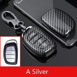 Glossy Carbon fiber ABS Car case key cover shell set For Hyundai Creta I10 I20 Tucson Elantra Santa Fe 2016 2017 2018