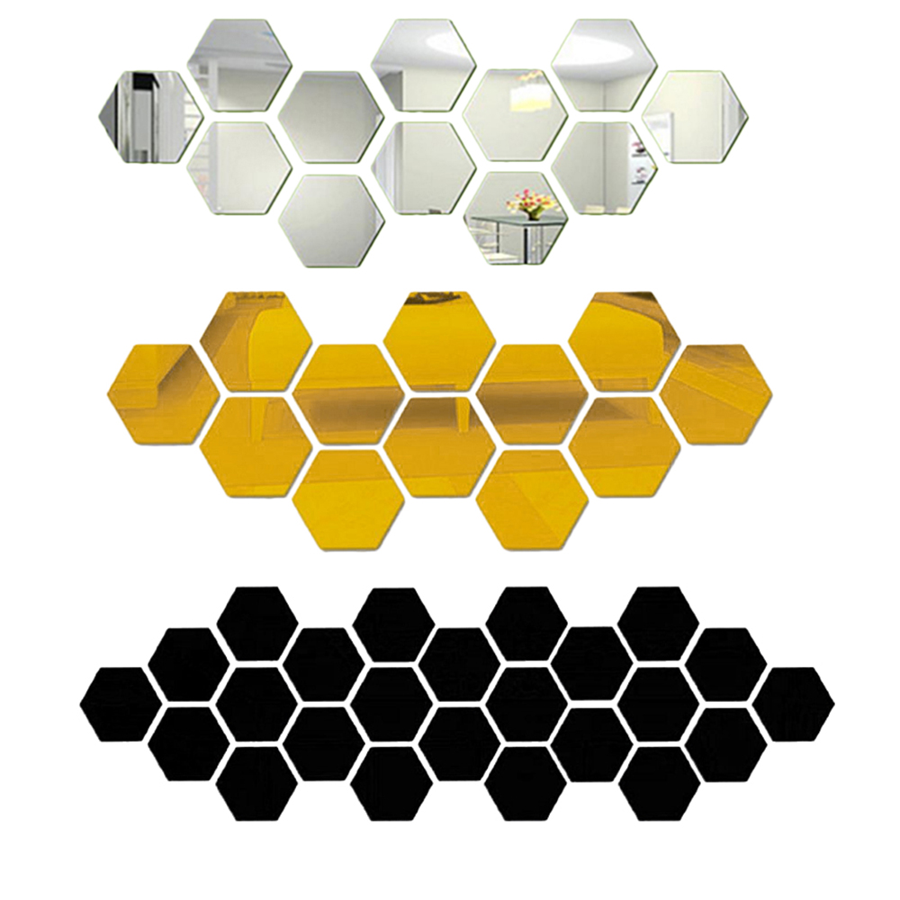 <font><b>12</b></font> <font><b>3D</b></font> Hexagonal Acrylic Mirror Wall Stickers Art Wall Decoration Stickers Living Room Mirror Stickers Gold Home Decoration image