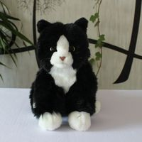 Cute black and white cats plush toys doll real life cow cat toy children gifts soft