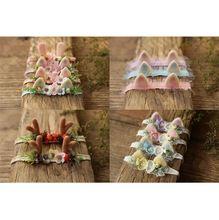 Повязка на голову для новорожденных девочек банты цветы эластичные