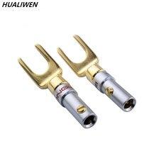 1pcs banhado a ouro y spade alto-falante plugues parafuso de áudio garfo conector adaptador