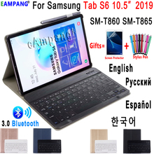 Case for Samsung Galaxy Tab S6 10.5 Keyboard Case T860 T865 SM T860 Cover Russian Spanish English Bluetooth Keyboard Funda Case