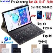 מקרה עבור Samsung Galaxy Tab S6 10.5 מקלדת מקרה T860 T865 SM T860 כיסוי רוסית ספרדית אנגלית Bluetooth מקלדת Funda מקרה