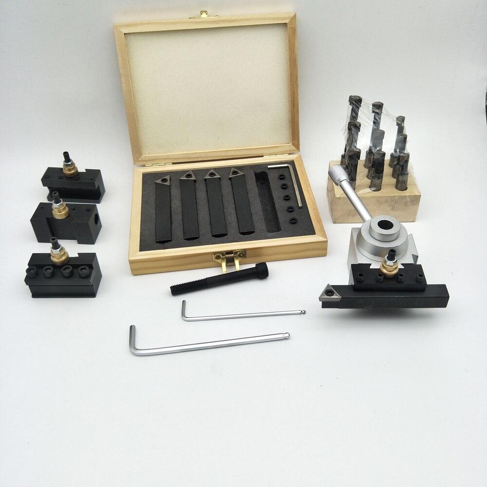 Pequeño tamaño portátil 19 Uds Kit de soporte de cambio rápido con insertos de carburo y barra de mandrinado Juego de Herramientas de aleación dura