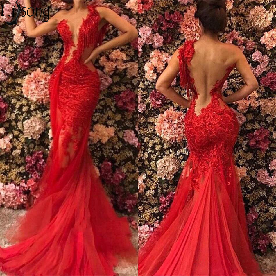 2019 Red Sheer See Through Backless Mermaid Prom Dresses Plus Size Lace Tulle One Shoulder Evening Gowns Sexy Robe De Soiree Abendkleider