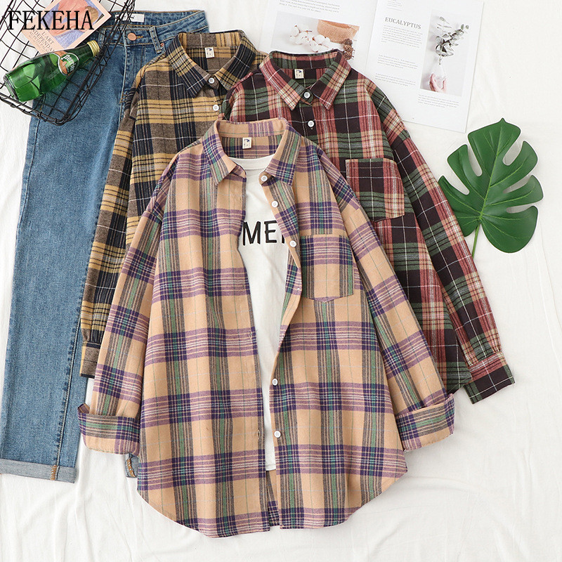 Plaid Shirts Women Top And Blouses Long Sleeve Oversized Cotton Ladies Casual Blusas One Pocket Loose Female Checked Shirt