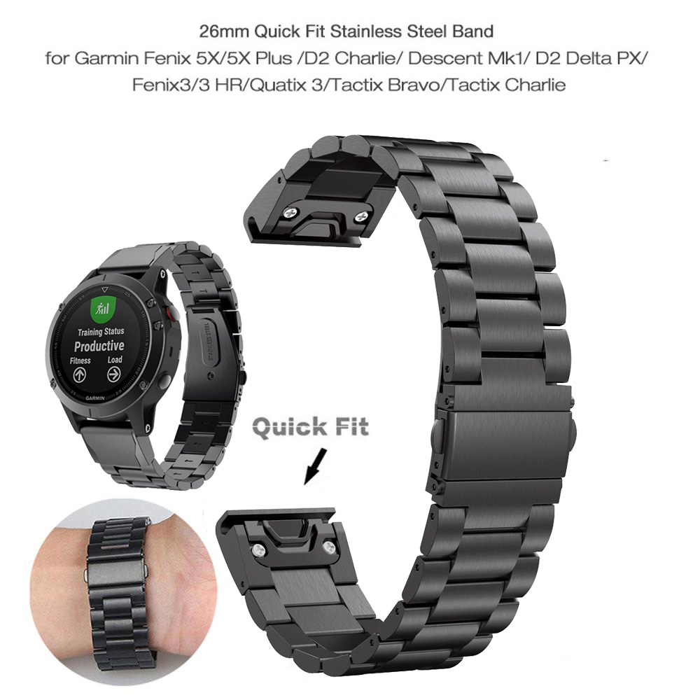 26 22 20MM Watchband Strap For Garmin Fenix 6X 6S 6 5X 5 5S Plus 3HR D2 S60 Watch Quick Release Stainless Steel Wrist Band Strap