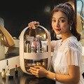 Акриловый Органайзер для макияжа двойная дверь в большой ящик для хранения косметики для ванной комнаты косметический чехол для ухода за к...