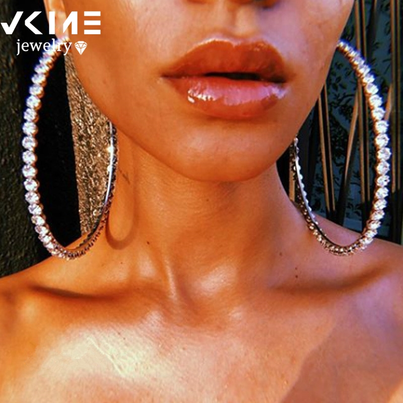 VKME Fashion Oversize Circle Hoop Earrings For Women Girl New Geometric Crystal Round Earring Brincos Party Jewelry Gift