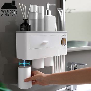 Magnetic Adsorption Automatic Toothbrush Holder Toothpaste Dispenser Squeezer Wall Mount Storage Rack Bathroom Accessories Set wall mount dust proof toothbrush holder dispenser hair drier rack automatic toothpaste squeezer dispenser bathroom accessories