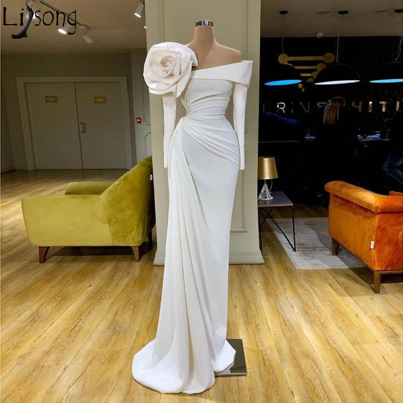 2020 Couture Fashion Off White Prom Dresses Off The Shoulder Long Sleeve Evening Dress With Handmade Flowers Arabic Formal Gowns