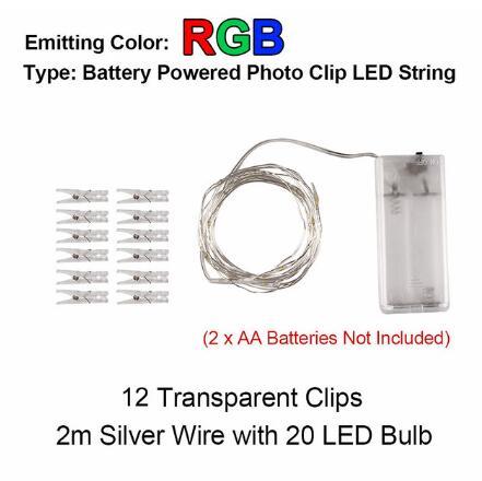 2 м/5 м/10 м зажим для фото USB светодиодный гирлянды сказочные огни наружная гирлянда на батарейках рождественские украшения вечерние, свадебные, рождественские - Испускаемый цвет: 2m RGB