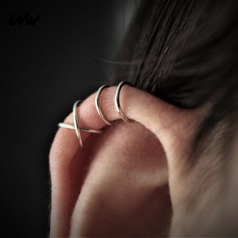 1pc Fashion Punk Rock X&U Shape Ear Cuff Wrap Earrings Non Piercing Clip Fake Statement Jewelry For Women Men Brincos UVW192