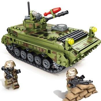 цена на 376PCS Tank Building Blocks Toys Mini figures Vehicle Boy Educational Block Military Compatible LegoINGlys Bricks