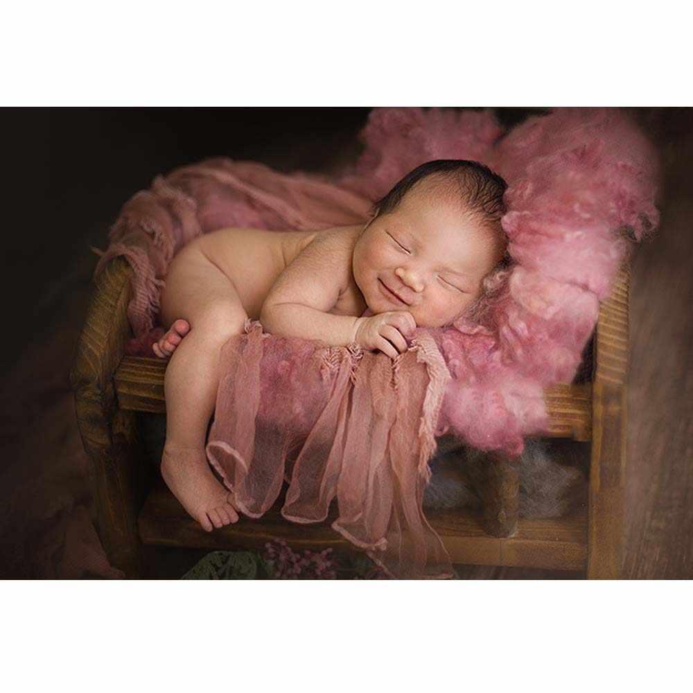 Bioby Retro drewniane łóżko noworodka fotografia strzelać rekwizyty dziecko Studio fotografia tło kołyski różowy/fioletowy/zielony/niebo niebieski