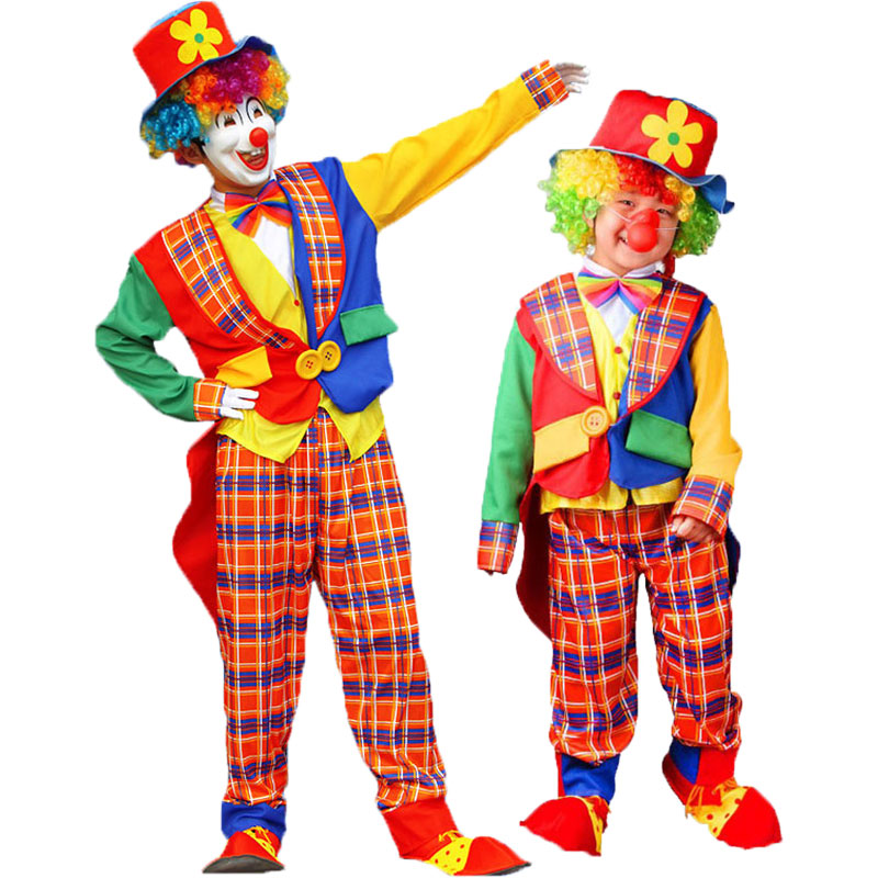 Umorden Halloween Carnival Party Costumes Father Dad and Son Circus Clown on the Town Costume Plaid Cosplay Clothes Set in Holidays Costumes from Novelty Special Use