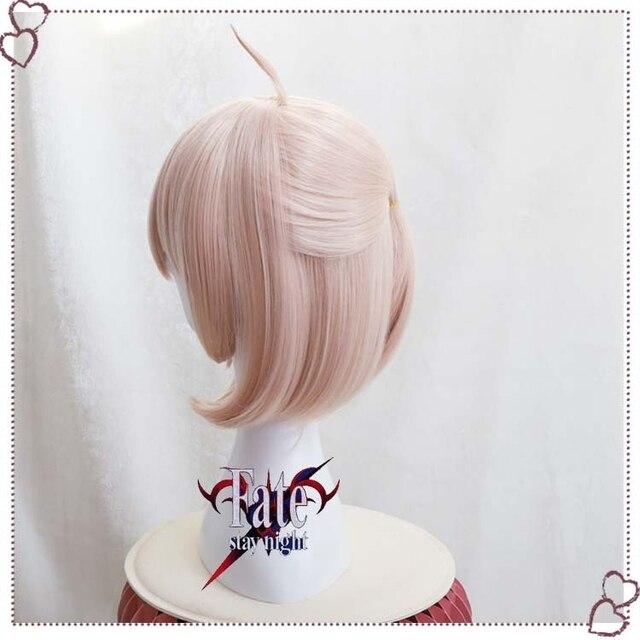 Gamer Fate Grand Order FGO Okita Souji Wig Cosplay Sakura Saber Short Synthetic Hair Anime Party Halloween Props 4