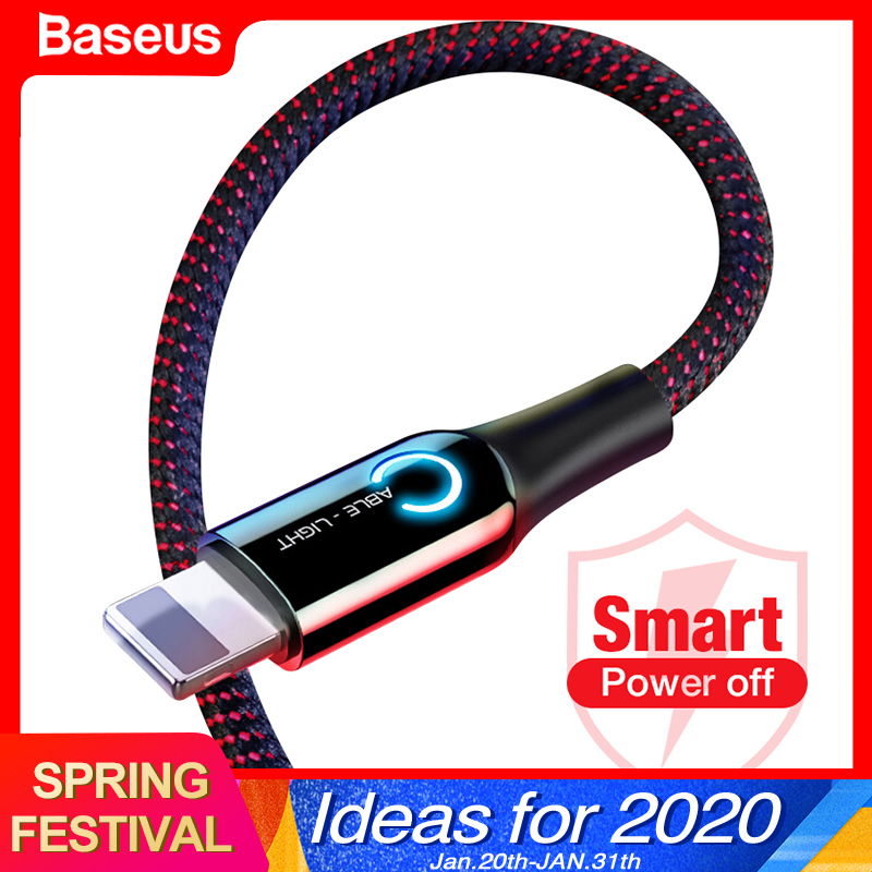 Baseus Auto Disconnect USB Cable For iPhone X Xs Max Xr 8 7 6 2.4A Fast Charging Charger Data Sync Cable LED Lighting USB Cord-in Mobile Phone Cables from Cellphones & Telecommunications on AliExpress