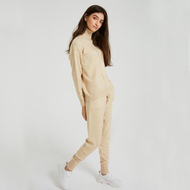 Wixra femmes pull costumes et ensembles col roulé à manches longues chandails tricotés + poches pantalons longs 2 pièces ensembles Costume d'hiver 1