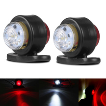 2Pcs 10-30V Car Truck Trailer LED Side Marker Light White Red Turn Signal Clearance Light Indicator Lamp For Lorry Van Caravans  2pcs 14smd yellow red blue green white led arrow panels car side mirror turn signal indicator light for dodge journey
