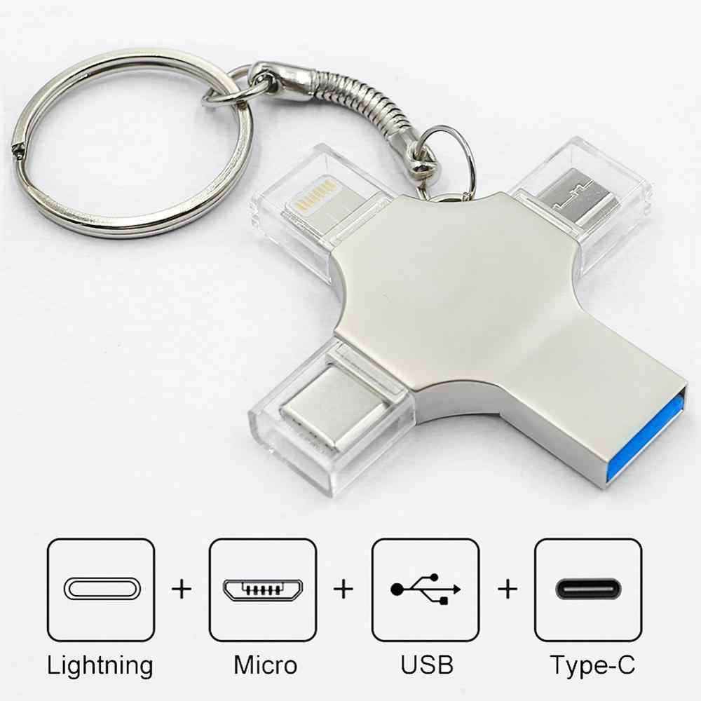 Bru Pen Drive Type C Otg Usb Flash Drive 3.0 Voor Iphone Ipad Android 16Gb 32Gb 64Gb 128Gb 256Gb Pendrive 4in1
