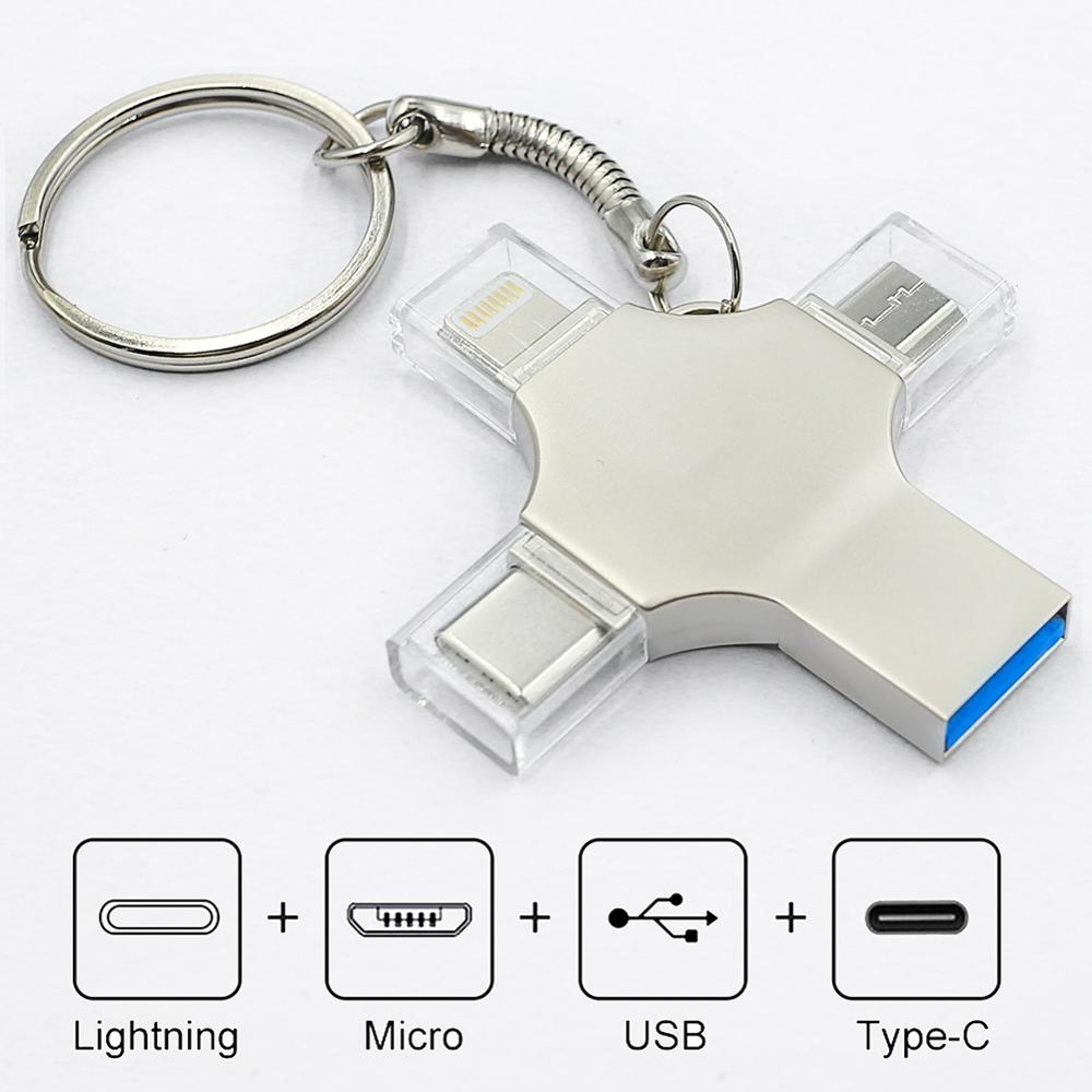 Bru 4in1 Pen Drive Otg Usb Flash Drive 3.0 Type-c For Iphone Ipad Android Smart Phone Tablet PC 16g 32g 64g 128g 256gb Pendrive