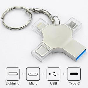 Bru Pen Drive Type c Otg Usb Flash Drive 3.0 For Iphone ipad Android 16gb 32gb 64gb 128gb 256gb Pendrive 4in1