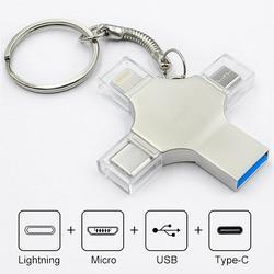 Movimentação 3.0 do flash de otg usb da movimentação da pena do bru 4in1 tipo-c para o pc 16g 32g 64g 128g 256gb da tabuleta do telefone esperto do andróide do iphone