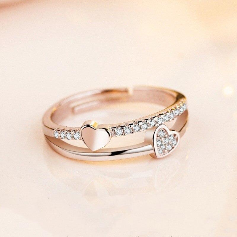 Engagement-Ring Couple Heart-Shaped Romantic Adjustable Wedding Silver New Stylish