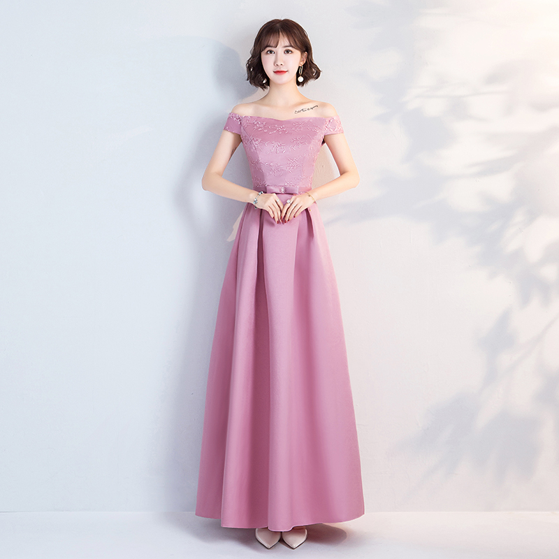 Off The Shoulder Vintage Embroidery Burgundy Bridesmaid Dress Pink Vestido Azul Marino Elegant Dress Women Wedding Party Prom