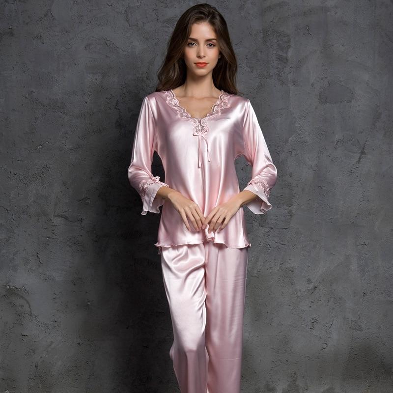 SP&CITY Women V Neck Bow Pajamas Silk Sleepwear Long Sleeves Home Wear Lace Held Sexy Lingerie Pyjama Long Femme Soft Lingerie-in Pajama Sets from Underwear & Sleepwears on AliExpress