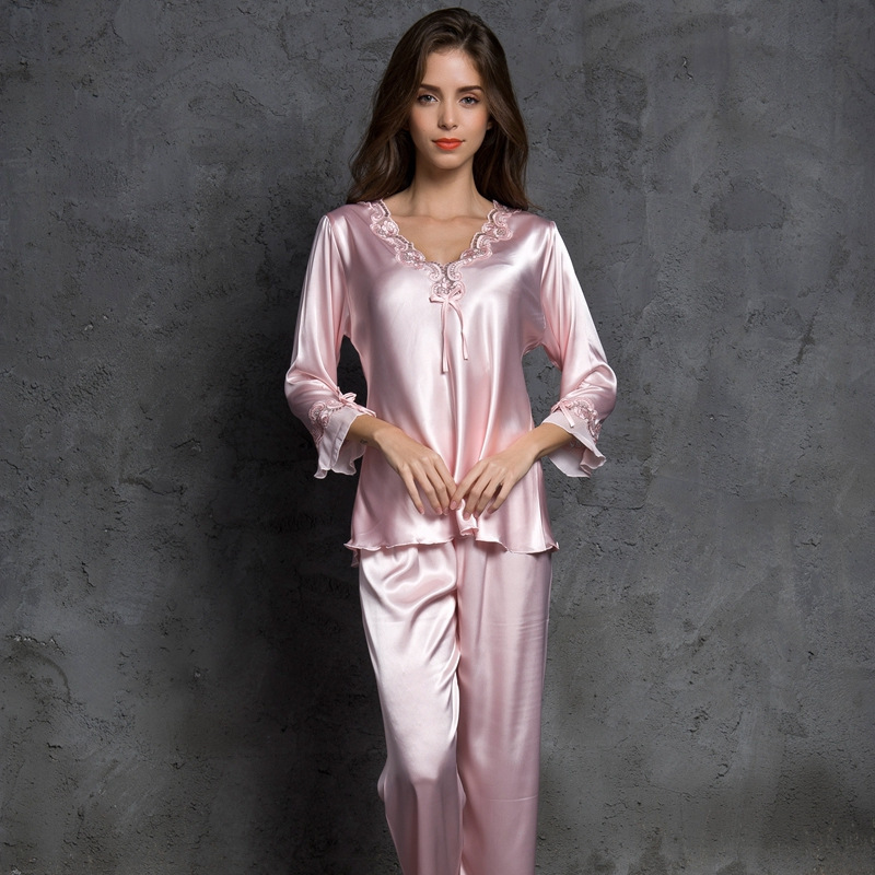 SP&CITY Women V-Neck Bow Pajamas Silk Sleepwear Long Sleeves Home Wear Lace Held Sexy Lingerie Pyjama Long Femme Soft Lingerie
