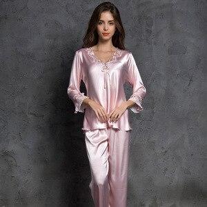 Image 1 - SP&CITY Women V Neck Bow Pajamas Silk Sleepwear Long Sleeves Home Wear Lace Held Sexy Lingerie Pyjama Long Femme Soft Lingerie