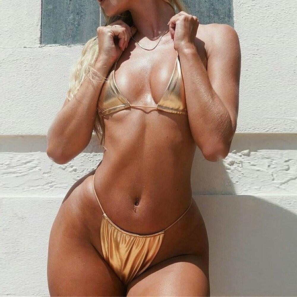 New Sexy 2pcs Bikini Sets Padded Women Push-up Bottom Solid Swimwears Bandage Swimsuit Thong Bottom Bathing Suit Swimming Suits