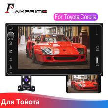 "AMPrime 2 Din araba radyo 7 ""multimedya Toyota Corolla otomatik Stereo Android/IOS MirrorLink Autoradio Bluetooth USB TF FM kamera(China)"